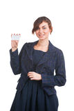 Donna attraente con il biglietto da visita Fotografia Stock Libera da Diritti