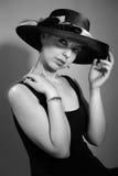 Donna attraente con il cappello Immagini Stock Libere da Diritti