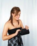 Donna attraente con la borsa Fotografia Stock Libera da Diritti
