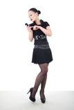 Donna attraente con lo smartphone Fotografia Stock Libera da Diritti