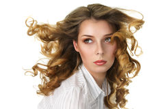 Donna attraente con lungo fly-away Fotografia Stock