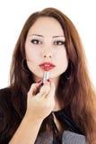 Donna attraente con rossetto rosso Fotografia Stock Libera da Diritti