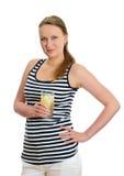 Donna attraente con vetro di acqua Fotografie Stock Libere da Diritti