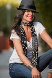 Donna attraente del caucasian del brunette di gli anni quaranta Immagini Stock