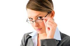 Donna attraente di affari con i vetri Immagini Stock Libere da Diritti