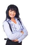 Donna attraente di affari con le braccia piegate Fotografie Stock