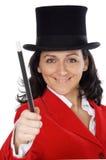 Donna attraente di affari con una bacchetta e un cappello magici Fotografia Stock Libera da Diritti