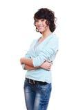 Donna attraente di smiley sopra priorità bassa bianca Fotografia Stock