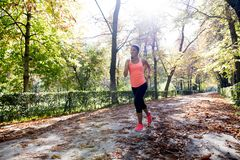 Donna attraente e felice del corridore in abiti sportivi di autunno che esegue a Immagine Stock Libera da Diritti