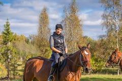 Donna attraente elegante che guida un prato del cavallo Immagini Stock Libere da Diritti