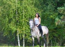 Donna attraente elegante che monta un cavallo Immagine Stock Libera da Diritti
