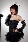 Donna attraente in pannello esterno nero del tutu e del corsetto Immagine Stock Libera da Diritti