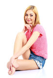 Donna attraente in vestiti di estate fotografia stock