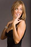 Donna attraente in vestito fotografia stock