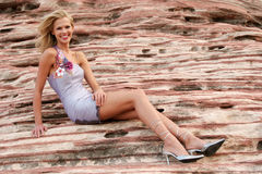 Donna attraente in vestito fotografia stock libera da diritti