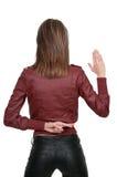 donna attraversata delle barrette fotografia stock