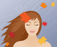 Donna in autunno Fotografia Stock Libera da Diritti