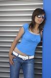 Donna in azzurro fotografia stock