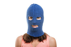Donna in balaclava Immagine Stock