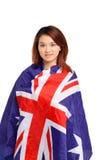 Donna in bandiera australiana Fotografie Stock Libere da Diritti