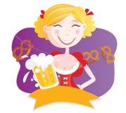 Donna bavarese con birra Fotografia Stock