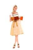 Donna bavarese con birra Fotografie Stock