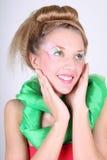 Donna bella con trucco e coiffure creativi fotografia stock