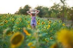 Donna bella sveglia di signora della ragazza che si siede su un campo con i grandi girasoli Castana con l'uso degli occhi azzurri fotografia stock libera da diritti