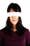 Donna bendata - censura Immagini Stock