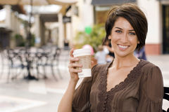 donna bevente del caffè Fotografia Stock Libera da Diritti