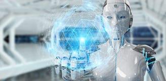 Donna bianca del robot che usando l'ologramma digitale 3D del collegamento della sfera con riferimento a Fotografia Stock