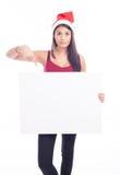 Donna in bianco del segno di natale Fotografie Stock