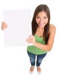 Donna in bianco del segno isolata Fotografie Stock Libere da Diritti