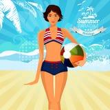 Donna in bikini Estate marchio Fotografia Stock