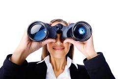 Donna binoculare di affari Fotografie Stock Libere da Diritti