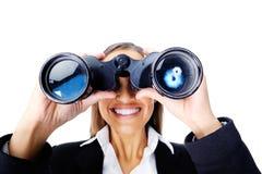 Donna binoculare di affari Immagini Stock Libere da Diritti