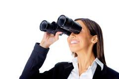 Donna binoculare di affari Fotografia Stock