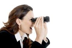 Donna binoculare di affari Fotografia Stock Libera da Diritti