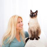 Donna bionda attraente che ha buoni periodi con il gatto immagine stock libera da diritti