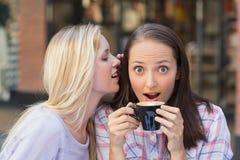 Donna bionda che dice segreto al suo amico mentre bevendo caffè immagine stock