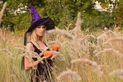 Donna bionda che posa in costume della strega Fotografie Stock Libere da Diritti
