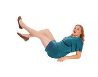 Donna bionda che si trova sul pavimento Fotografie Stock