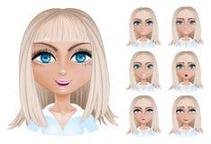 Donna bionda con differenti espressioni facciali Fotografie Stock Libere da Diritti