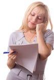 Donna bionda con il rilievo di nota. Isolato. #11 immagine stock