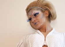 Donna bionda con trucco Fotografia Stock