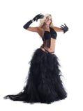 Donna bionda in costume orientale orientale nero Immagine Stock