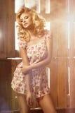 Donna bionda curvy affascinante Fotografie Stock