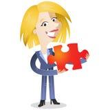 Donna bionda di affari che tiene il pezzo rosso del puzzle illustrazione vettoriale