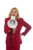 Donna bionda di affari con il megafono 1 Fotografie Stock
