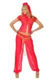 Donna bionda di Beautiul in costume di bellezza di oriente. immagine stock